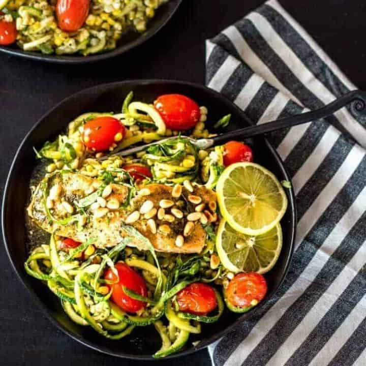 Pesto Salmon and Zoodles in Parchment