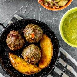 Baked Peruvian Style Meatballs with Aji Verde