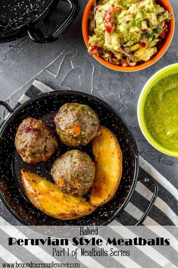 A perfect tapas/appetizer for a special party (New Year's Eve or Super Bowl perhaps?), these Baked Peruvian Style Meatballs pack a flavorful punch with cilantro, cumin, and aji amarillo (or other chile pepper)! Dipped in a tasty Aji Verde, your guests will be back for seconds... #Peruvianrecipes #Peruvianfood #Peruviangreensauce #Peruvianmeatballs #partyfood #appetizers #tapas #smallplates #NewYearsEvepartyfood #SuperBowlPartyfood #meatballrecipe