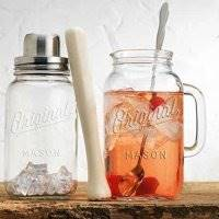 Mason Jar 4-Piece Set Cocktail Shaker Set, - Wood Muddler - 33 Once Glass Pitcher - Stainless Spoon. Bar Tool Set by HC