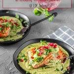 Creamy, zesty, salty, spicy, herbilicious describes the sauce that bathes a very simply cooked piece of fish... And guess what? Mexican Fish in Creamy Tomatillo Sauce dresses up your favorite fish prepared by your favorite method. It's so versatile! #Mexicanfish #creamytomatillosauce #fishrecipes #cleaneating #healthyMexican #Mexicanseafood #Seafood2xWeek #tomatillosaucerecipes #Mexicangreensauce #creamytomatillosauce
