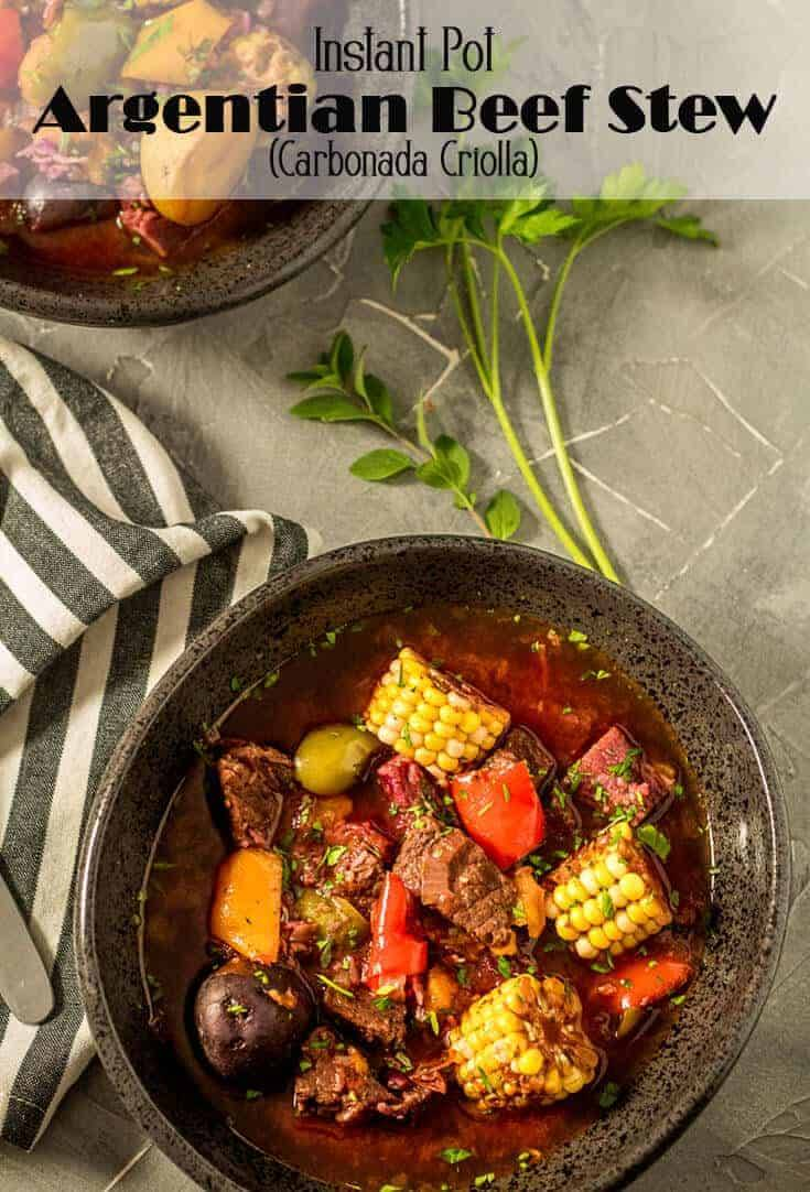 A hearty and comforting dish, Instant Pot Argentinian Beef Stew (Carbonada Criolla) is replete with tender beef, vegetables, herbs, and dried apricots. The Instant Pot/pressure cooker makes this delicious stew in about 60 minutes! #stewrecipes #beefstewrecipes #InstantPot #pressurecooker #Argentinianbeefstew #carbonadacriolla #Argentianrecipes #souprecipes #instantpotsouprecipes #instantpotstew