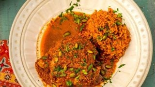 Latin Braised Turkey Thighs in Pumpkin Seed-Red Chile Sauce