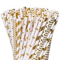 Besteek 150 Pcs Gold Paper Straws, Biodegradable Decorative Cute Straws, Fancy Straws for Party Decorations, Birthdays, Weddings, Baby Showers, Celebrations, Gold & White