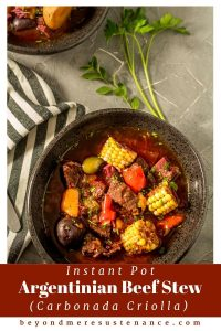 A hearty and comforting black bowl dish,Instant Pot Argentinian Beef Stew (Carbonada Criolla) is replete with tender beef, vegetables, herbs, and dried apricots. The Instant Pot/pressure cooker makes this delicious stew in about 60 minutes!