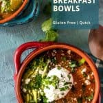 Healthy Mexican Grits Breakfast Bowls in brightly colored stoneware bowls with poached eggs, copper spoon, checked napkin