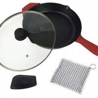 12-Inch Cast Iron Skillet Set (Pre-Seasoned), Including Large & Assist Silicone Hot Handle Holders, Glass Lid, Cast Iron Cleaner Chainmail Scrubber, Scraper