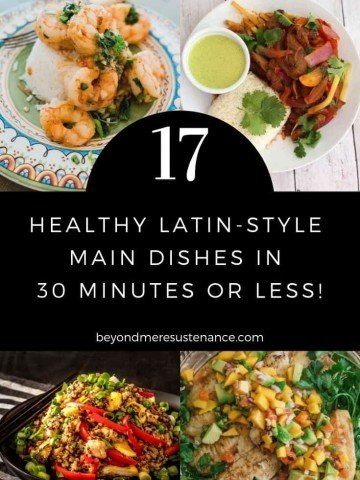 Healthy Latin Recipes collage pin with white text on a black background.