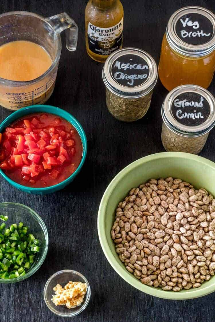 Instant Pot Vegan Borracho Beans ingredients before they go into the pot.