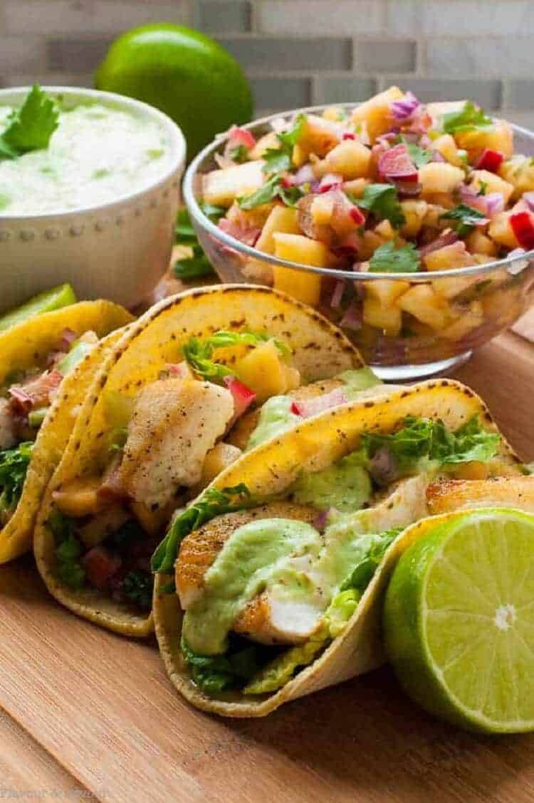 Grilled Fish Tacos with a bowl of Pineapple Rhubarb Salsa.