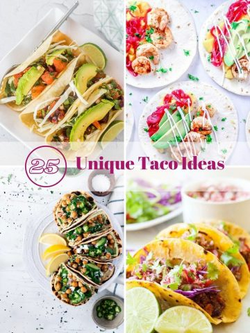 It's #tacotuesday, and you don't feel like having the same old (very familiar) tacos? Well have I got 25 Unique Taco Ideas for #tacoTuesday! Each taco recipe has an interesting twist (or two), most are really healthy, and all are sure to tickle your tastebuds! #tacoTuesday #tacorecipes #uniquetacorecipes #creativetacorecipes #besttacorecipes