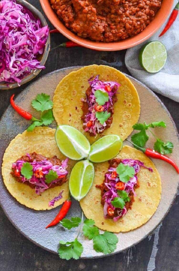 Enchilad Lentil Tacos with Lime Slaw.