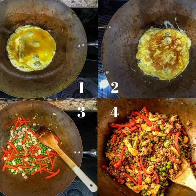 Clockwise from upper left - egg mixture in a wok, egg mixture after it is flipped, stir-frying veggies and chicken, finished dish in the wok.