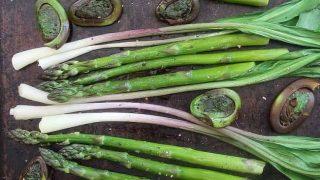 Roasted Asparagus Fiddleheads and Wild Leeks-Simply Fresh Dinners