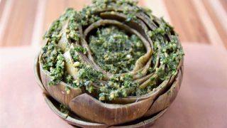 Anchovy Parsley Pesto Stuffed Artichoke