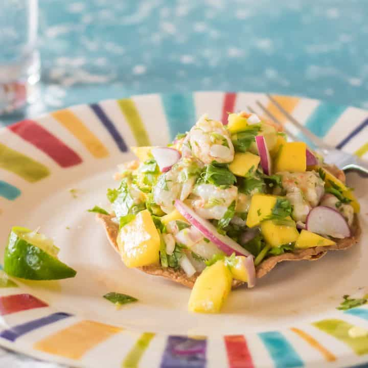 A striped plate with a bake tortilla and shrimp ceviche - a shrimp ceviche tostada!