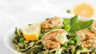Spring Shrimp Zucchini Noodles with Mint Pesto - Lively Table