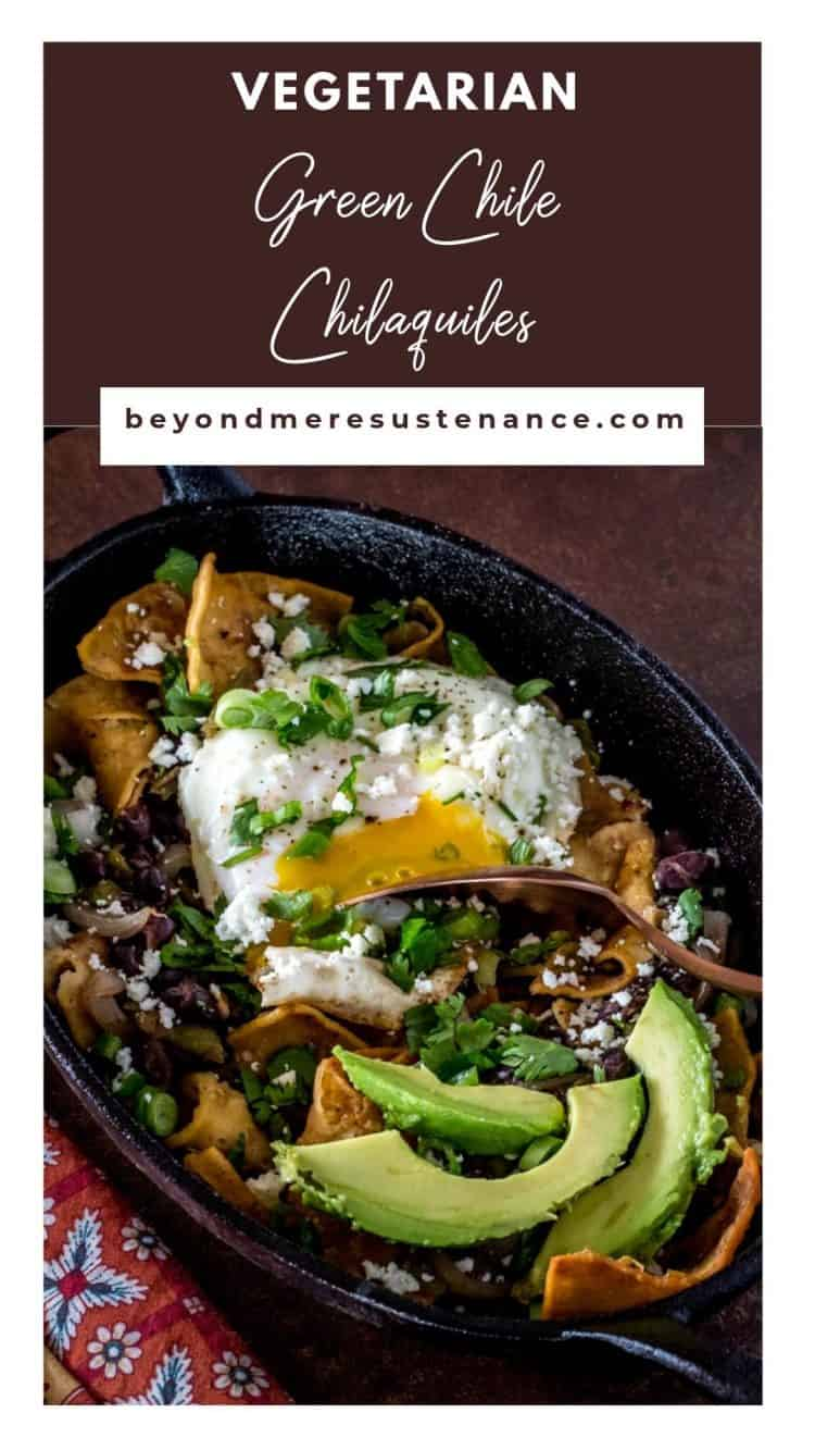 A Pinterest pin for Chilaquiles in an oval cast iron single serving dish with avocado and basted egg.