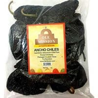 Dried Ancho Chiles Peppers 4 oz, Great For Sauce, Chili, Stews, Soups, Mole, Tamales, Salsa and Mexican Recipes By Ole Mission