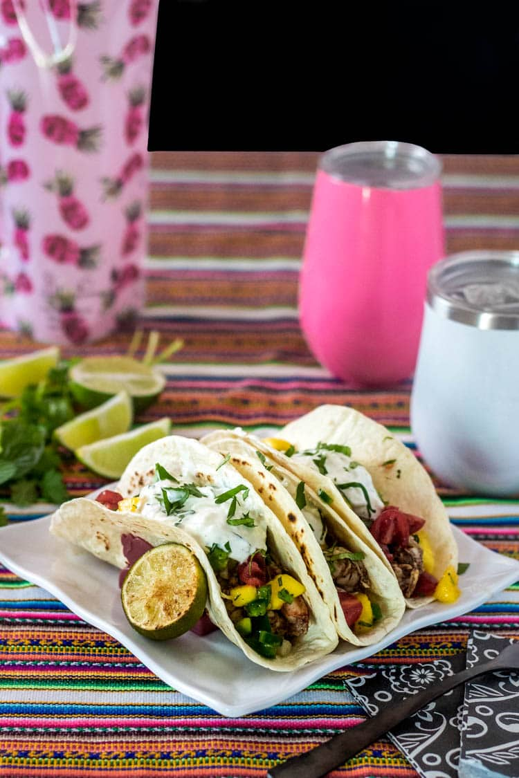 Indian Street Tacos on a bright striped table cloth, plastic wine bottle, insulated wine glasses in pink and white.
