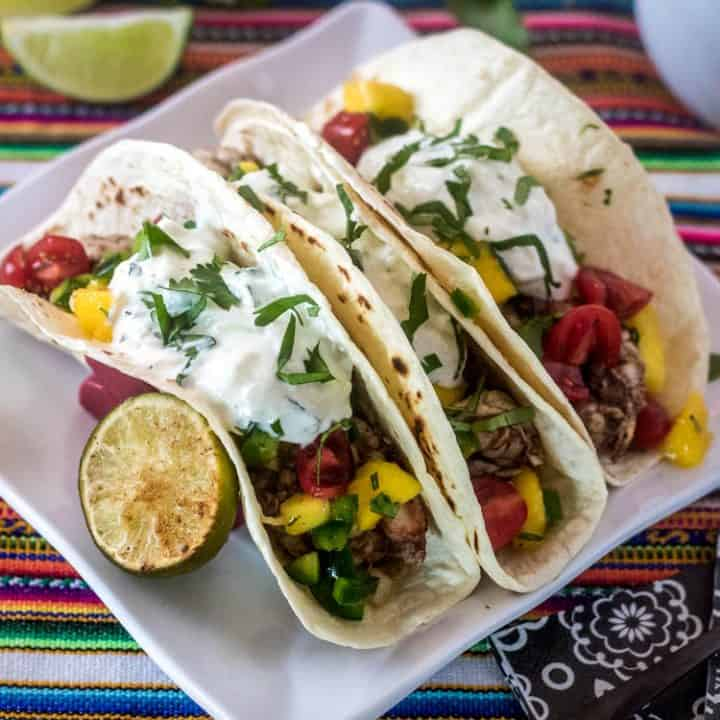 Indian Street Tacos with Grilled Shrimp