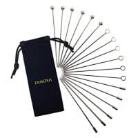 "Stainless Steel Cocktail Picks Set - 4"" (18 pcs) - Premium Reusable Martini Olive Metal Picks with Velvet Bag - Drink Garnish Skewers Appetizer Toothpicks Fruit Sticks (3 Head Designs)"