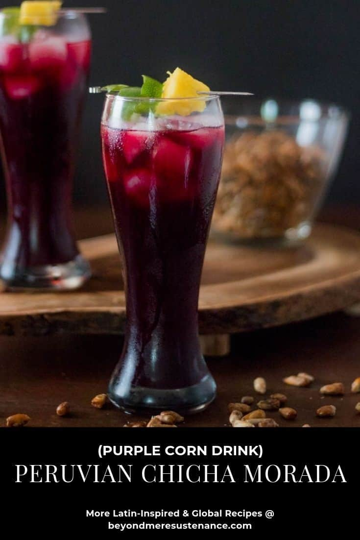 Peruvian Chicha Morada in a tall pilsner glass with cancha.