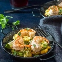 Tostones with Shrimp, Avocado, and Passion Fruit Slaw