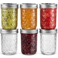 Ball Regular Mouth Mason Jars 8 oz, Set of 6 Canning Jelly Jars, With Lids and Bands, For canning, Freezing, Fermenting, Pickling, Preserving - Microwave & Dishwasher Safe + SEWANTA Jar Opener
