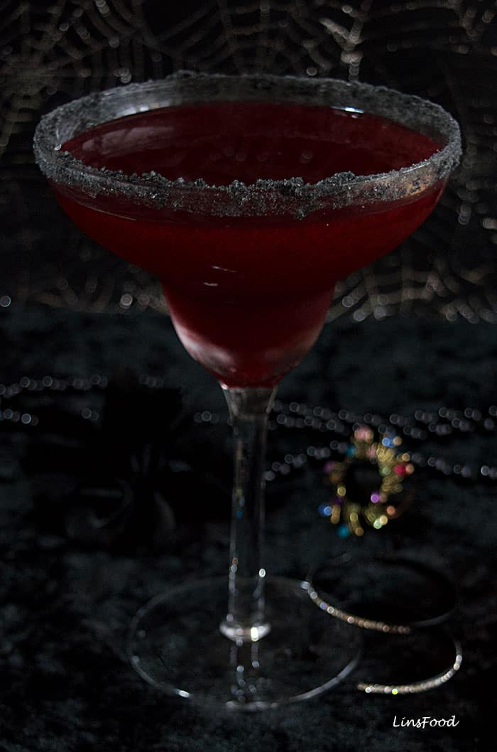 Bloody Margarita with Black Lava Salt Rim | a Halloween Cocktail