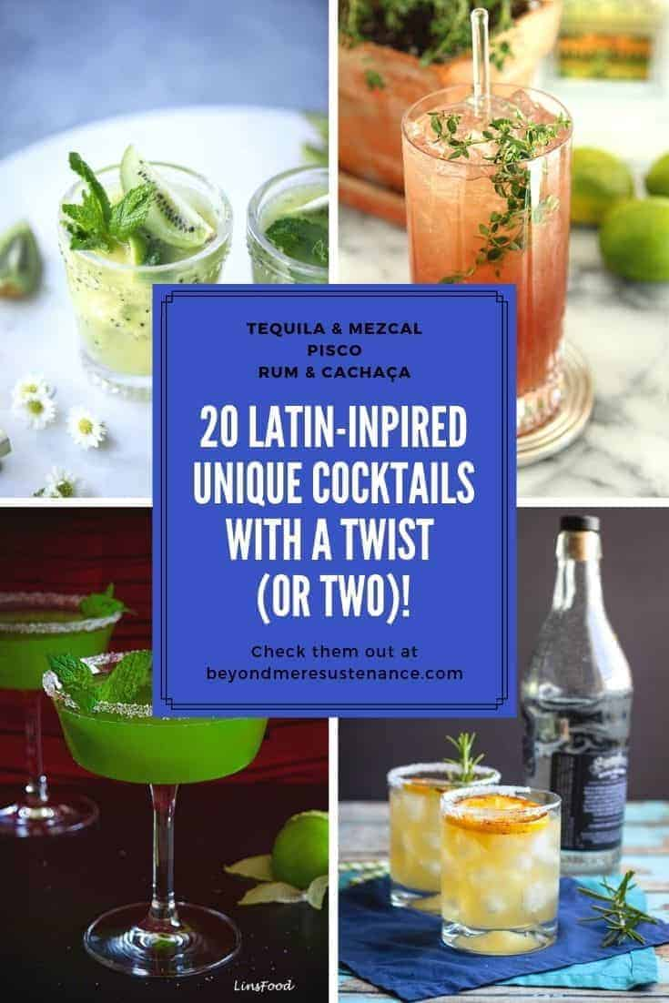 4 unique cocktails in a collage - a caiparinha, a pisco cocktail, a spicy tomatillo margarita, and a smoky mezcal cocktail.