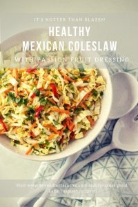 Healthy Mexican Coleslaw with Passion Fruit Dressing is not your grandmother's coleslaw... This one features napa cabbage, shredded carrots, thin-sliced Fresno pepper, cilantro, and scallions in a zesty passion fruit dressing. Enjoy on its own as a side dish, or as a topping on your favorite tacos! #beyondmeresustenance #Mexicancoleslaw #healthycoleslawrecipes #coleslawrecipes #vegan #glutenfree #vegetarian #passionfruitdressing #healthyMexican #healthyLatin #cleaneating