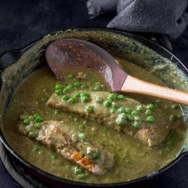 Salmon in Easy Mole Verde Sauce