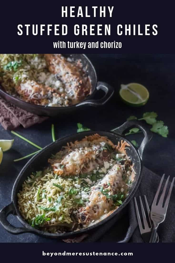 2 cast iron baking dishes with Healthy Stuffed Green Chiles with turkey and chorizo... healthy Hatch green chiles and tons of flavor!