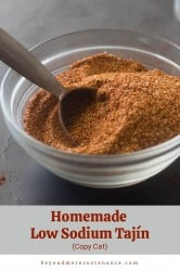A pinterest pin of a small bowl of tajin with a spoon.