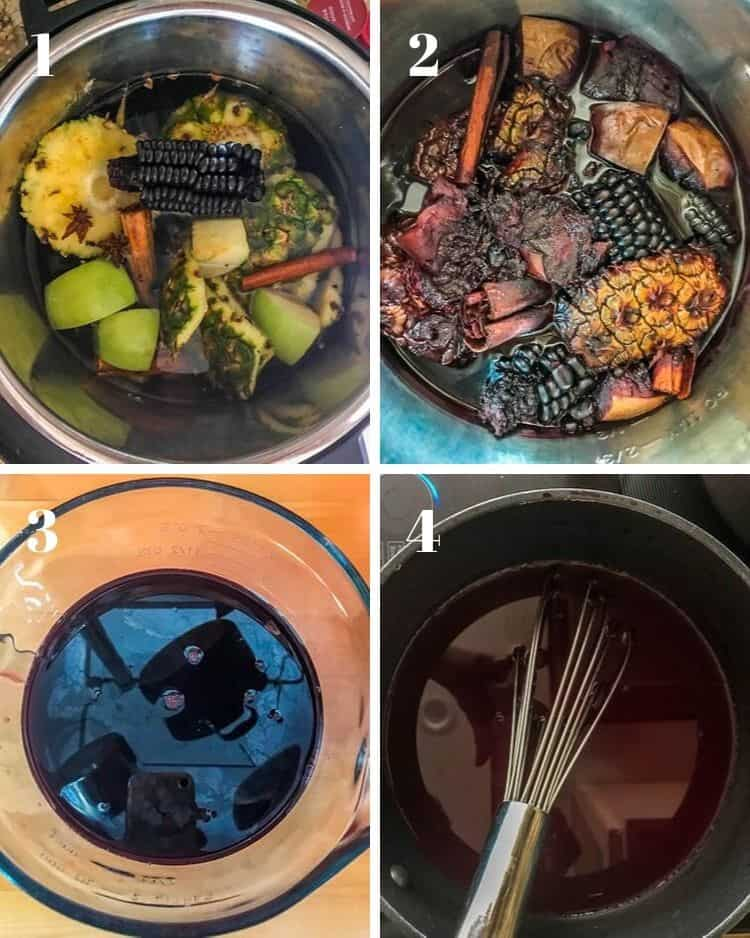 The preparation steps for gluten free, vegan mazamorra morada - make the chicha morada, strain, cook with dried fruit and harina de camote, then add fresh lime juice until thickened.