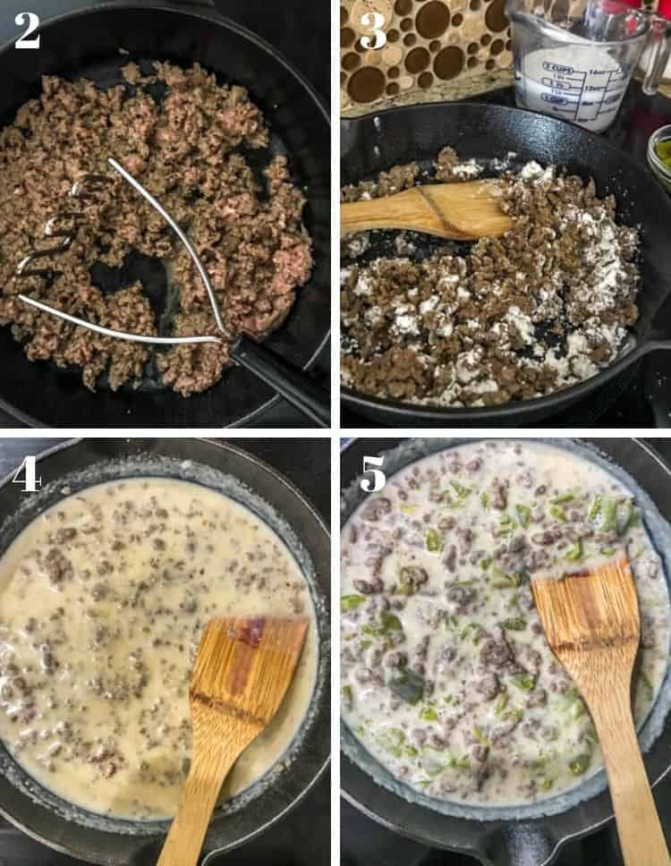 Cooking steps for the gravy:  1. Brown the turkey sausage. 2. Add the flour and toast it. 3. Add the milk, and stir until boils. 4. Add in the Hatch green chile.