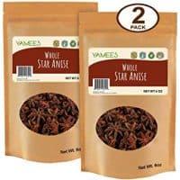 Yamees Star Anise – Star Anise Pods – Anise Star – Anise Whole – Star Anise Whole - Bulk Spices – 2 Pack of 6 Ounce Each