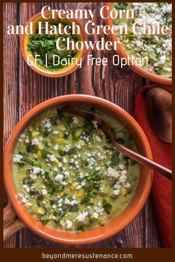 A Pinterest pin of green chile chowder in a terra cotta bowl.