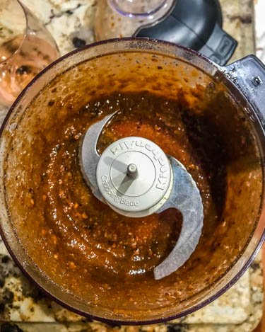 Glaze ingredients in a food processor.