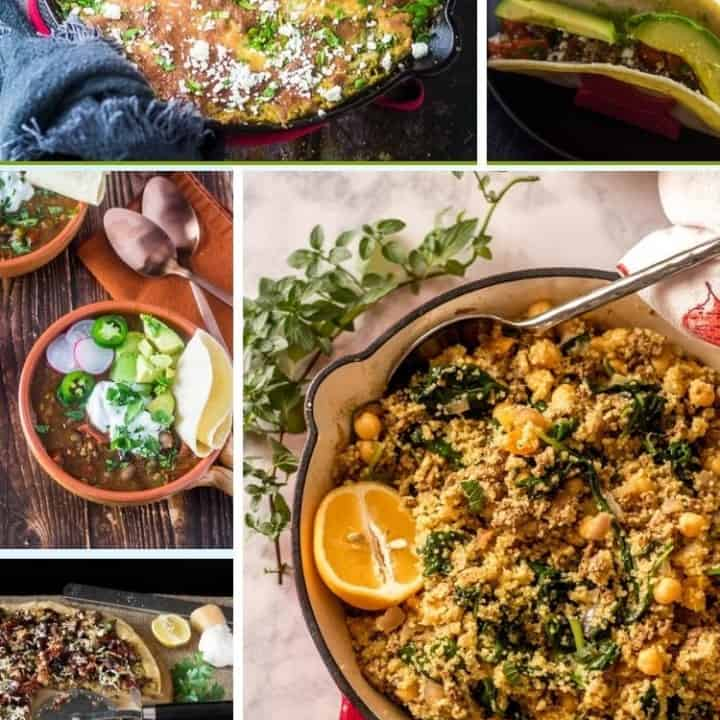 A collage of ground lamb recipes perfect for weeknight dinners!