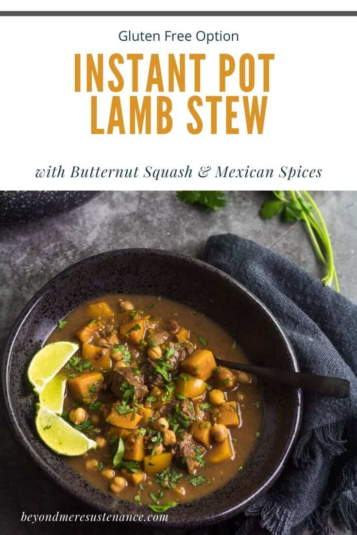 Lamb Butternut Squash Stew in a black stoneware bowl with black spoon and grey napkin.
