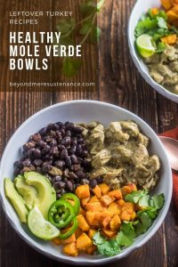 2 white bowls with healthy molve verde bowls with leftover turkey, black beans, roasted veggies, avocado and cilantro.