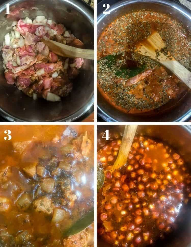 Cooking steps: 1. Brown the pork and aromatics. 2. Add beer and broth, remaining herbs, and pressurize. 3. Release pressure. 4. Add cooked posole. Garnish and serve!