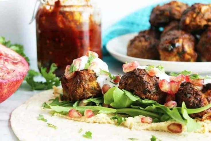 Baked Lamb Meatballs with Harissa and Feta