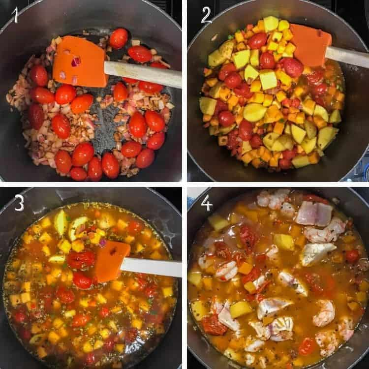A collage of cooking steps for easy shrimp and fish soup:  1. Saute the chorizo, onion, garlic, tomato. 2. De-glaze the pan with beer, then add the vegetables. 3. Add seafood stock, and Mexican oregano. Simmer until tender. 4. Add fish and shrimp, and cook until fish and shrimp are opaque.