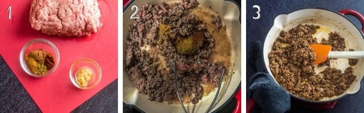Ground Lamb Tacos cooking steps: 1. Mix spices, mince garlic, weigh ground lamb. 2. Fry lamb, spices, cocoa, garlic. 3. When ground lamb is browned, add to corn tortillas with prepared toppings.
