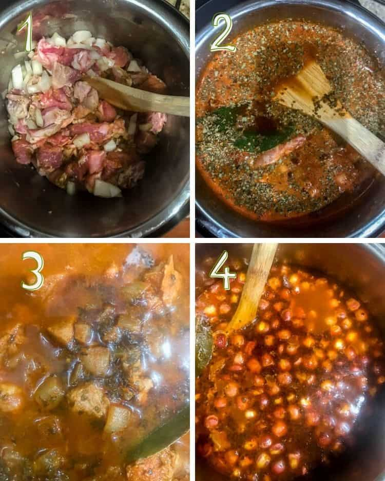 Cooking steps for New Mexico Red Chile Posole: 1. Brown pork, onion, garlic, cumin. 2. Add broth/stock. 3. Simmer until tender. 4. Combine and simmer to combine flavors.