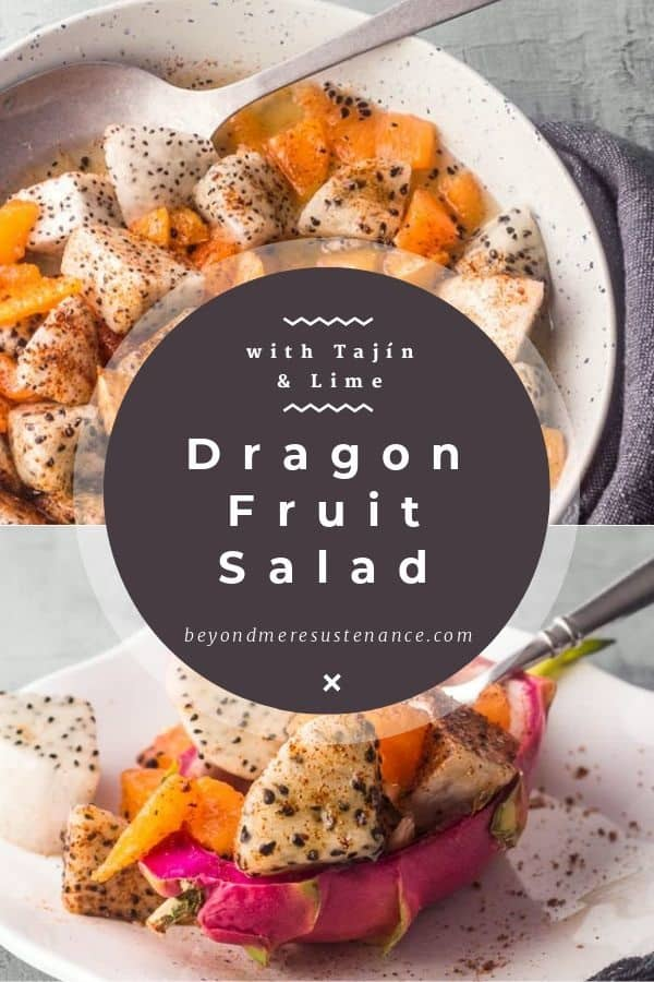 2 images with text - dragon fruit salad in a grey salad bowl and dragon fruit salad in the skin of a red dragon fruit.