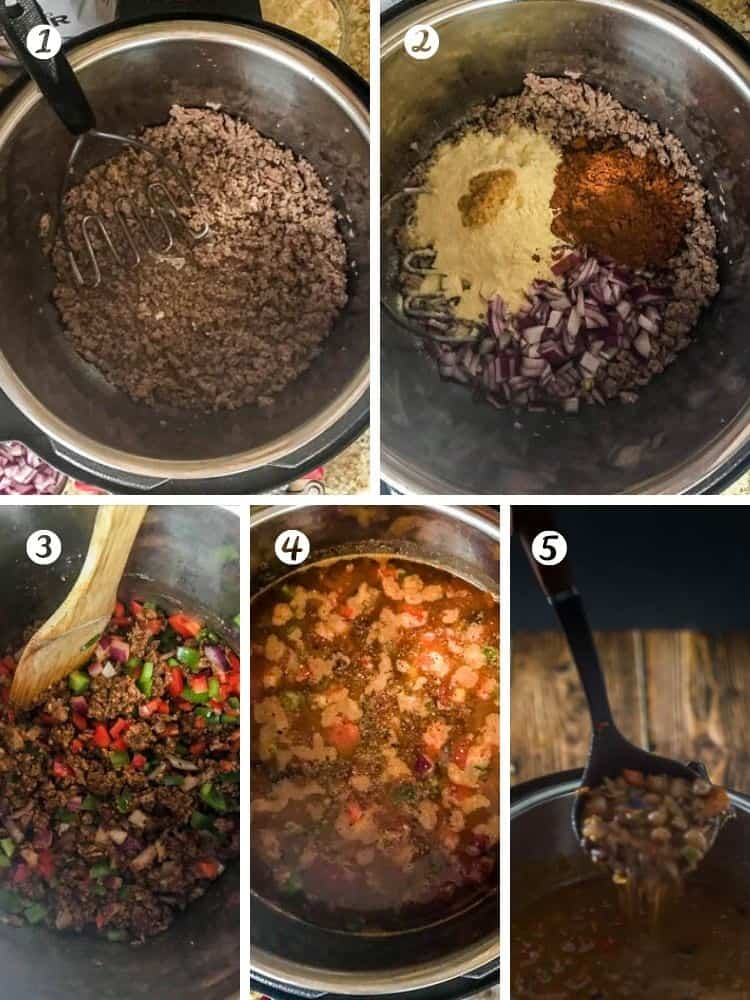 A collage of cooking steps for instant pot ground lamb chili.